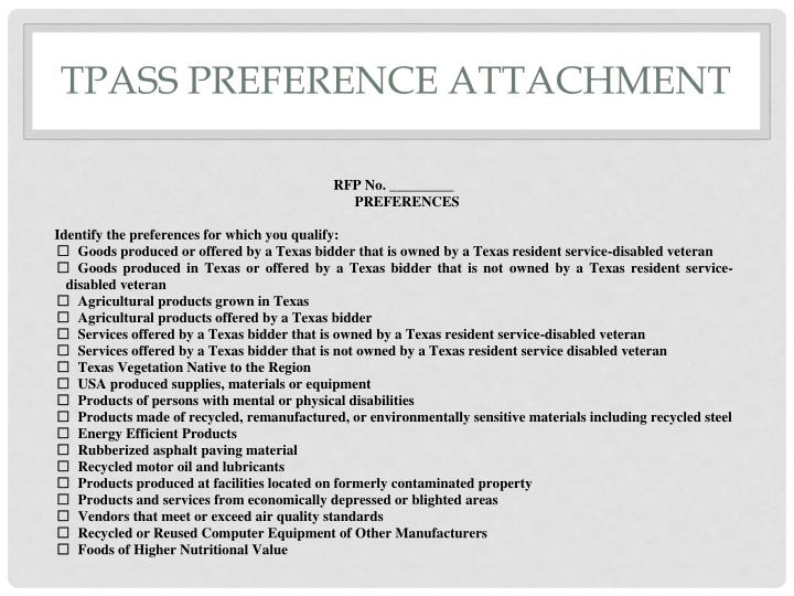 TPASS Preference attachment