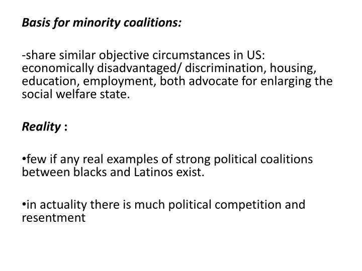 Basis for minority coalitions: