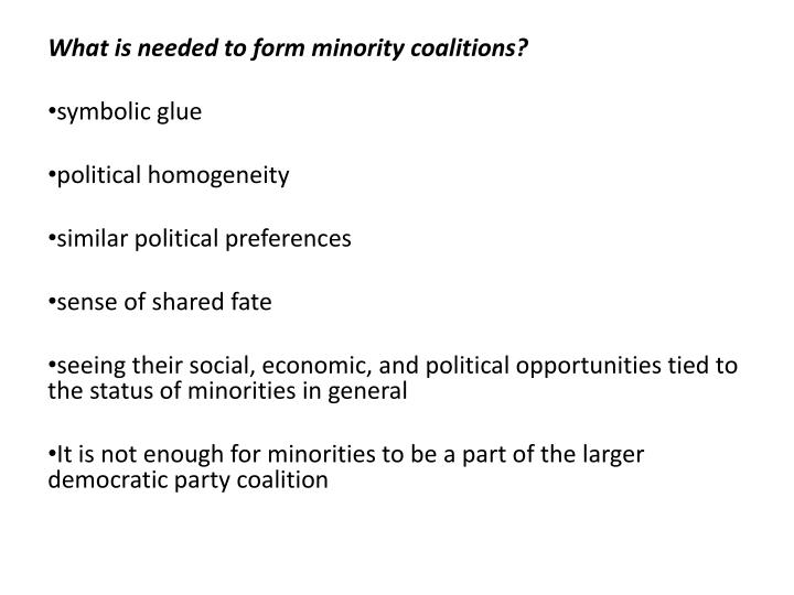What is needed to form minority coalitions?