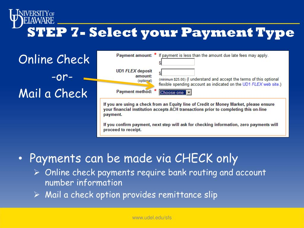 STEP 7- Select your Payment Type