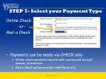 step 7 select your payment type