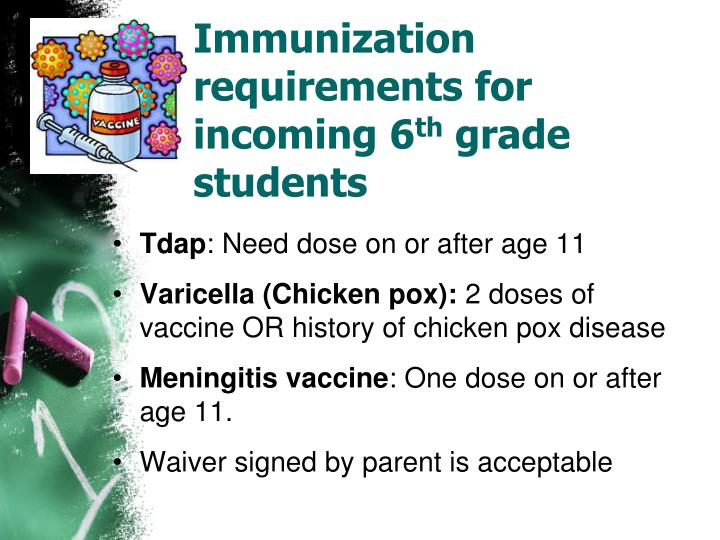 Immunization requirements for incoming 6 th grade students