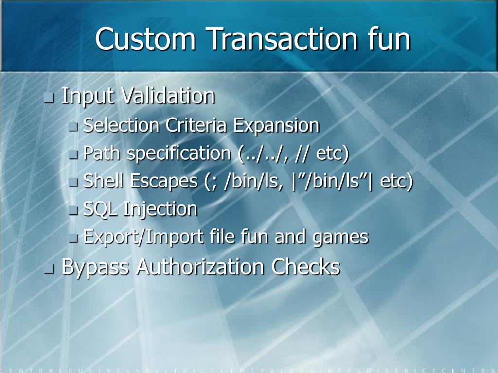 Custom Transaction fun