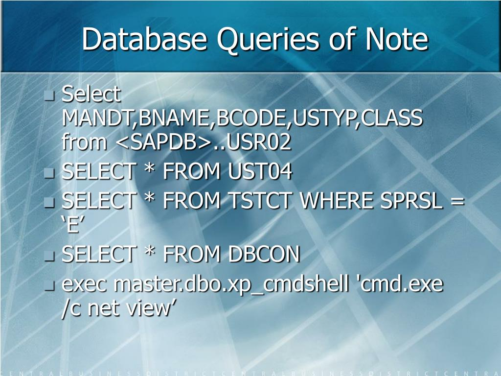 Database Queries of Note