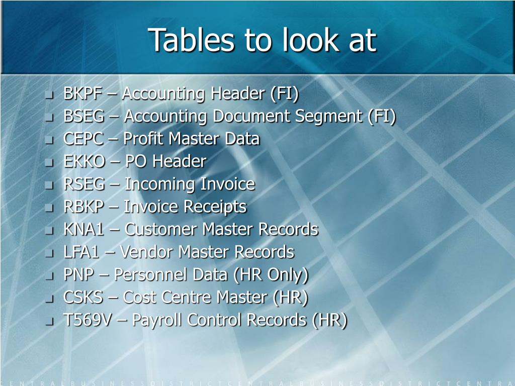 Tables to look at