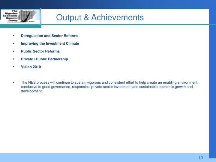 Output & Achievements
