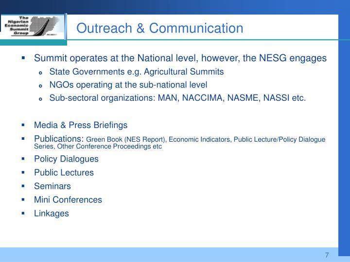 Outreach & Communication