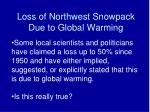 loss of northwest snowpack due to global warming