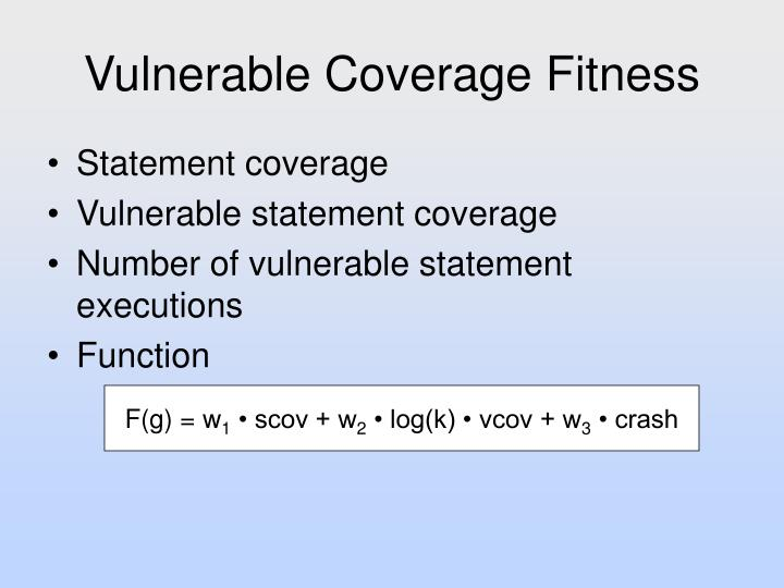 Vulnerable Coverage Fitness