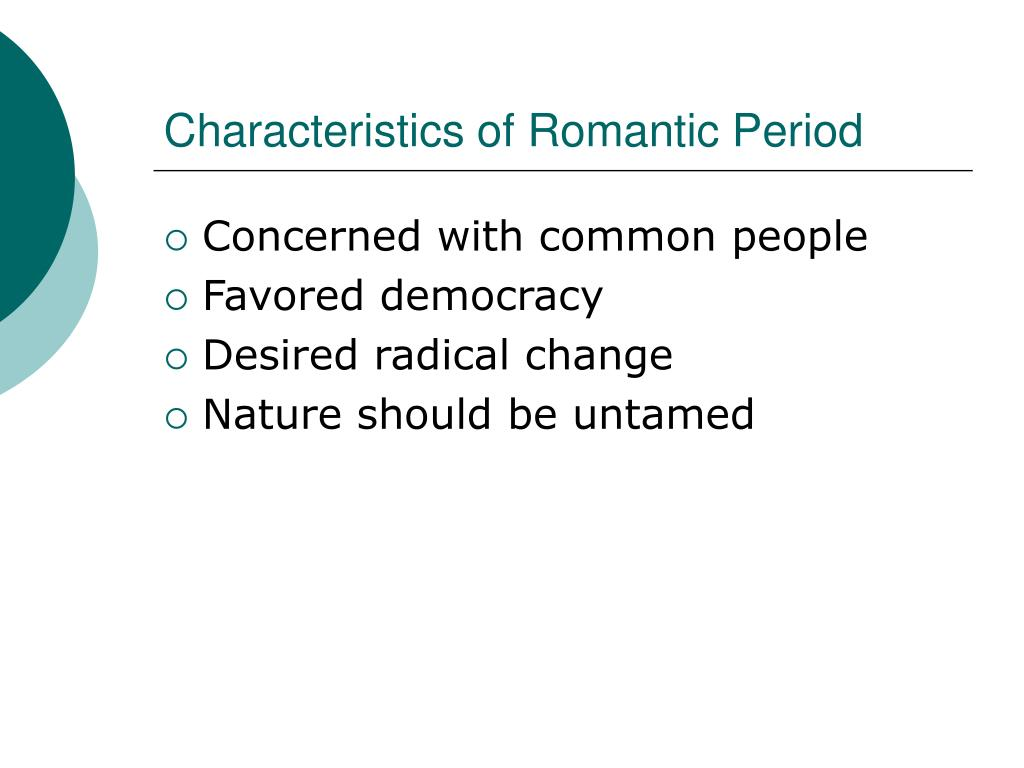 characteristics of the romantic period in