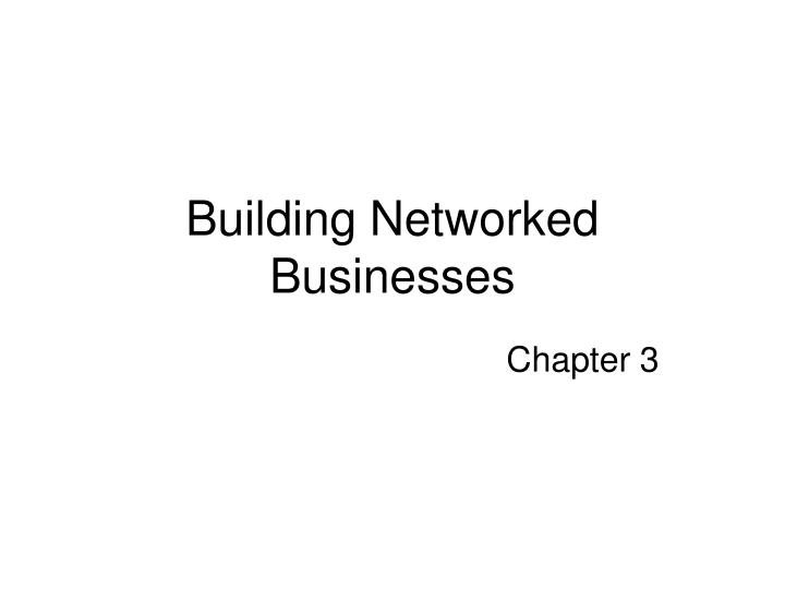 building networked businesses n.