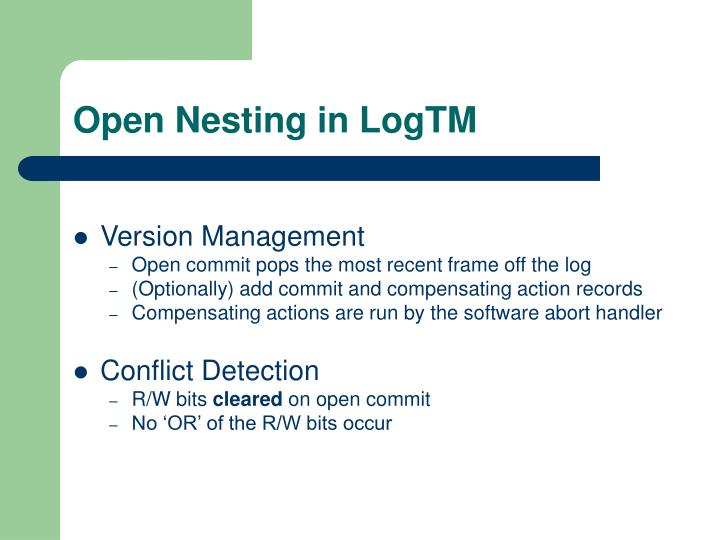 Open Nesting in LogTM