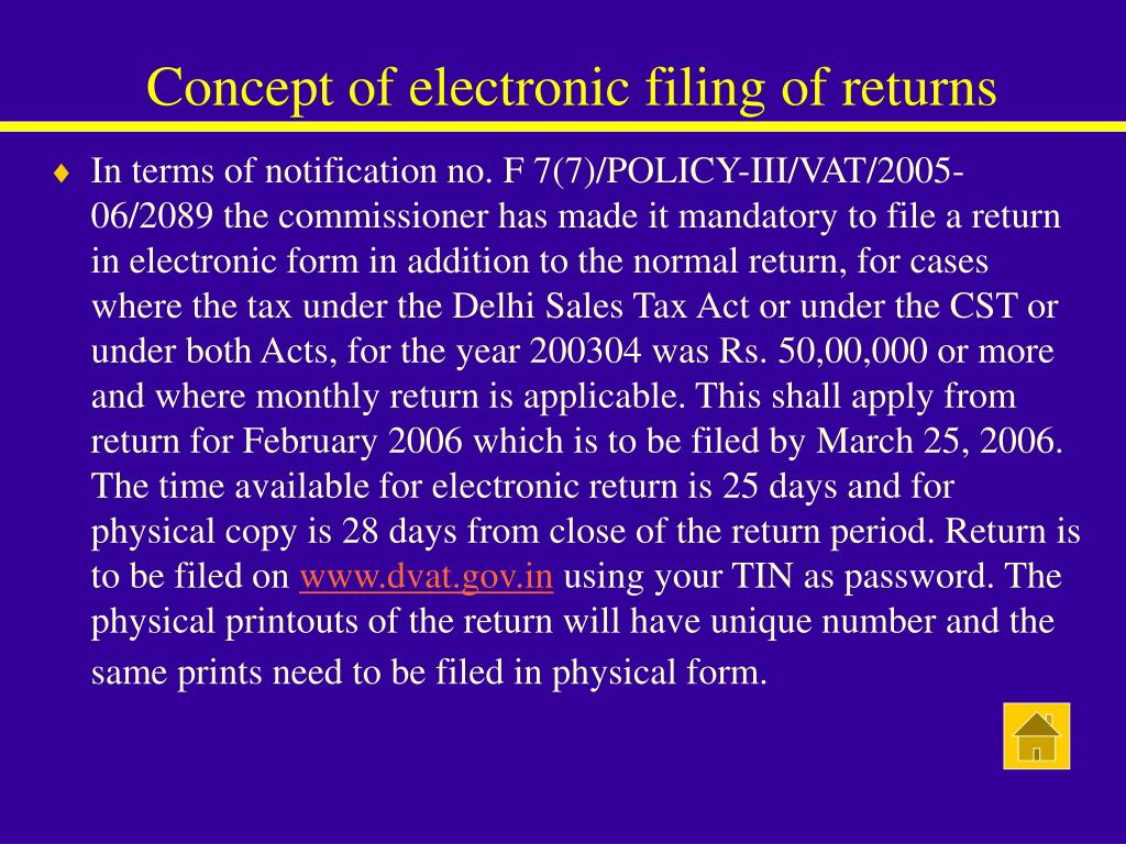 Concept of electronic filing of returns