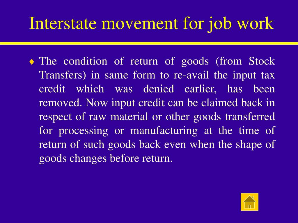 Interstate movement for job work