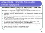 appendix d sample training for invoice approvers