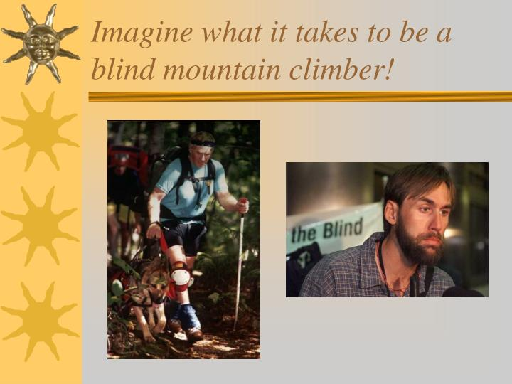 Imagine what it takes to be a blind mountain climber!