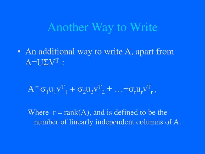 Another Way to Write