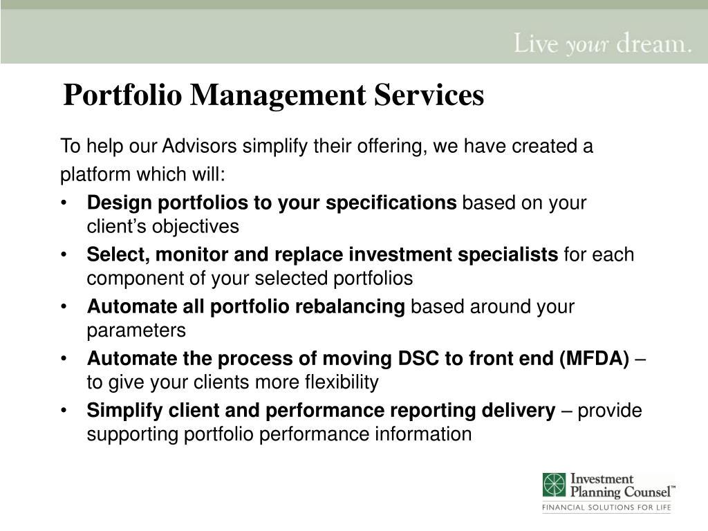 Portfolio Management Services