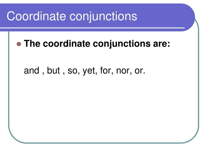 Coordinate conjunctions