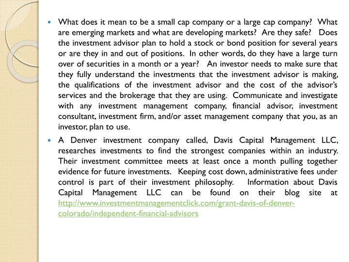 What does it mean to be a small cap company or a large cap company?  What are emerging markets and w...