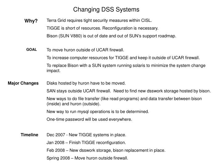 changing dss systems n.