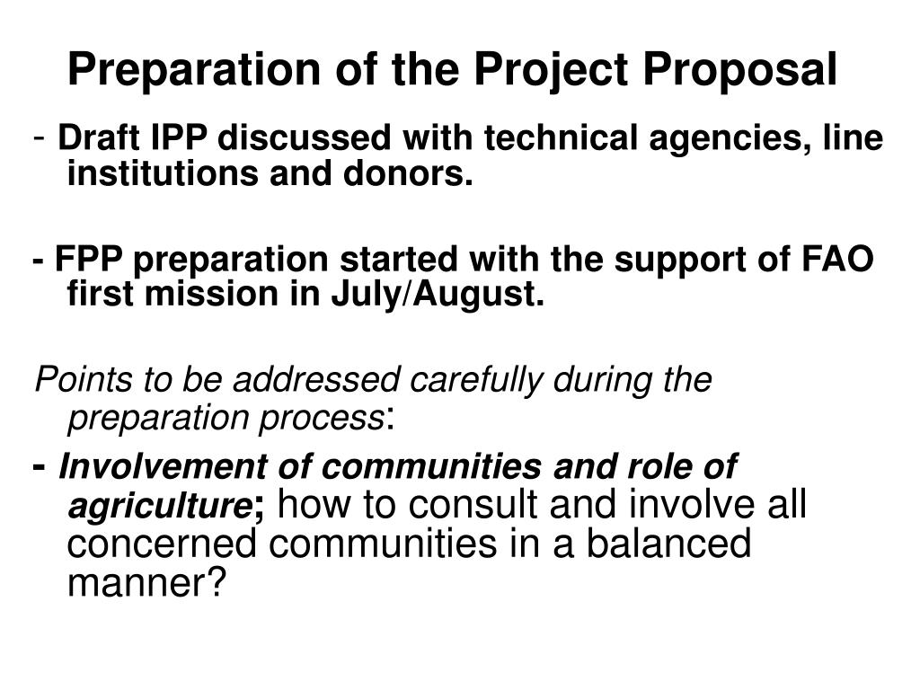 Preparation of the Project Proposal