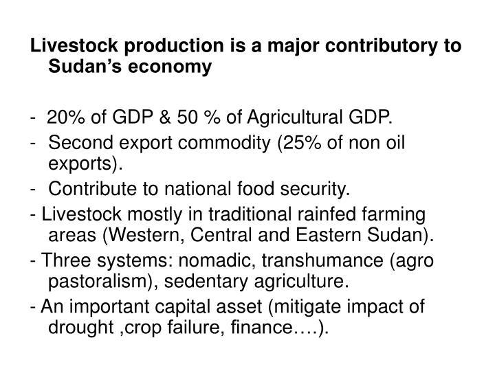 Livestock production is a major contributory to Sudan's economy