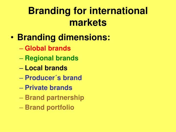 Branding for international markets