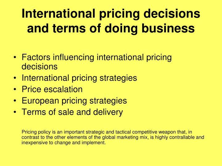 International pricing decisions