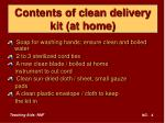 contents of clean delivery kit at home