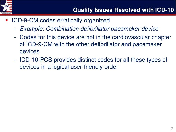 Quality Issues Resolved with ICD-10