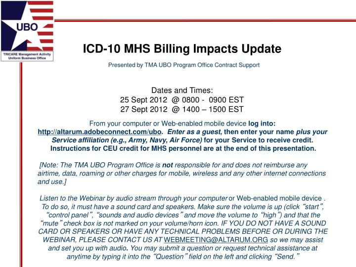 ICD-10 MHS Billing Impacts Update