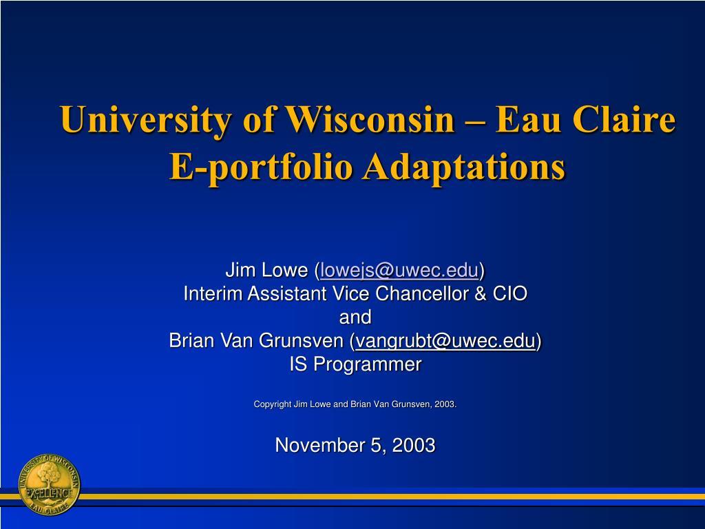 university of wisconsin eau claire e portfolio adaptations l.