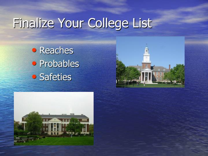 Finalize Your College List