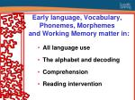 early language vocabulary phonemes morphemes and working memory matter in