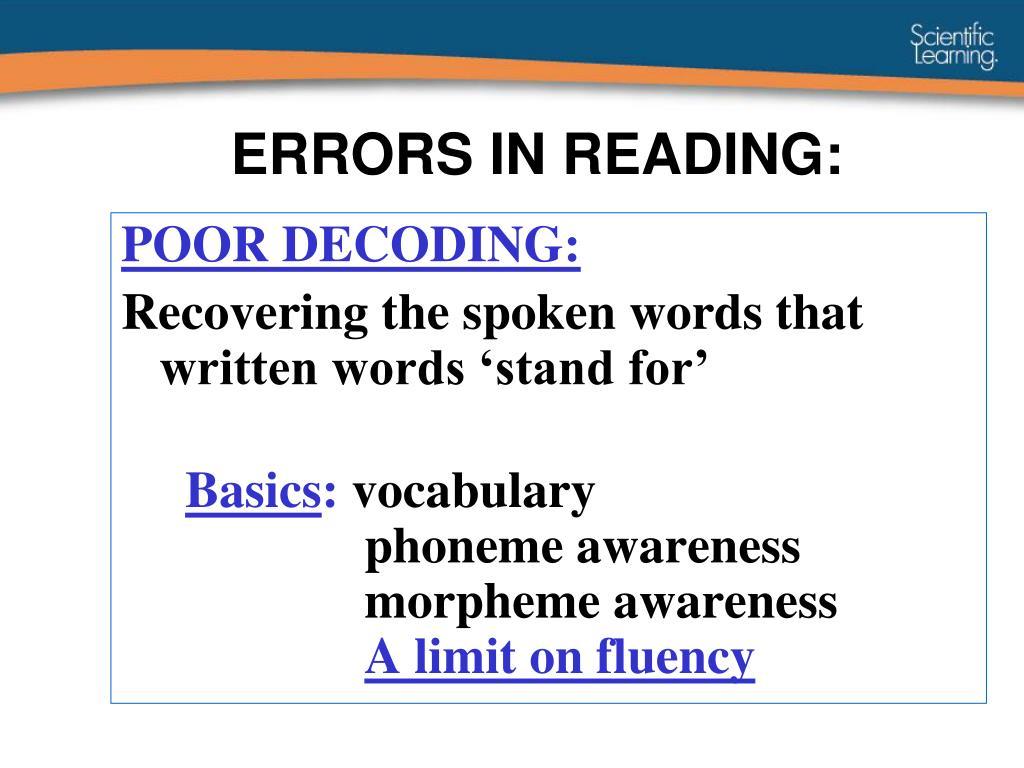 ERRORS IN READING: