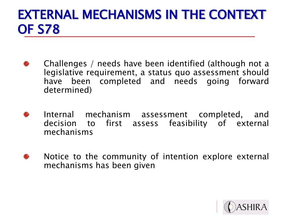 EXTERNAL MECHANISMS IN THE CONTEXT OF S78