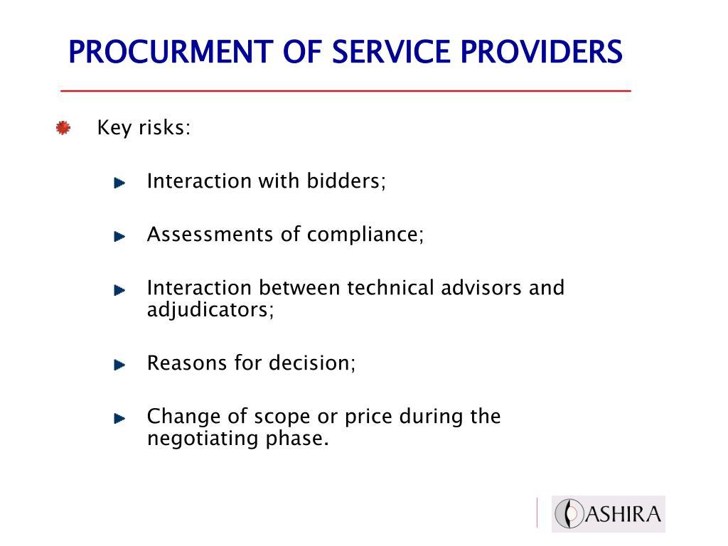 PROCURMENT OF SERVICE PROVIDERS
