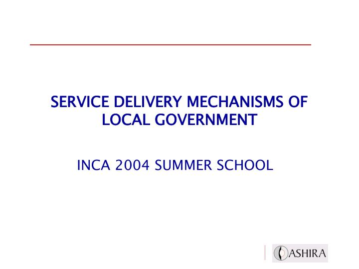 service delivery mechanisms of local government n.