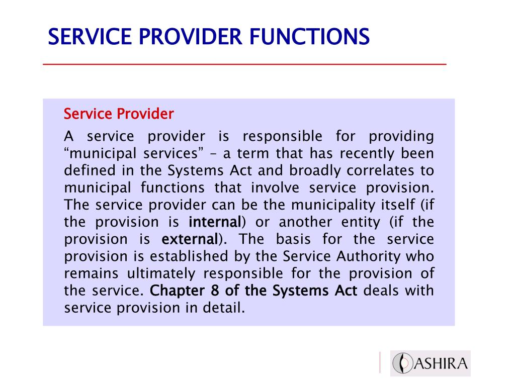 SERVICE PROVIDER FUNCTIONS