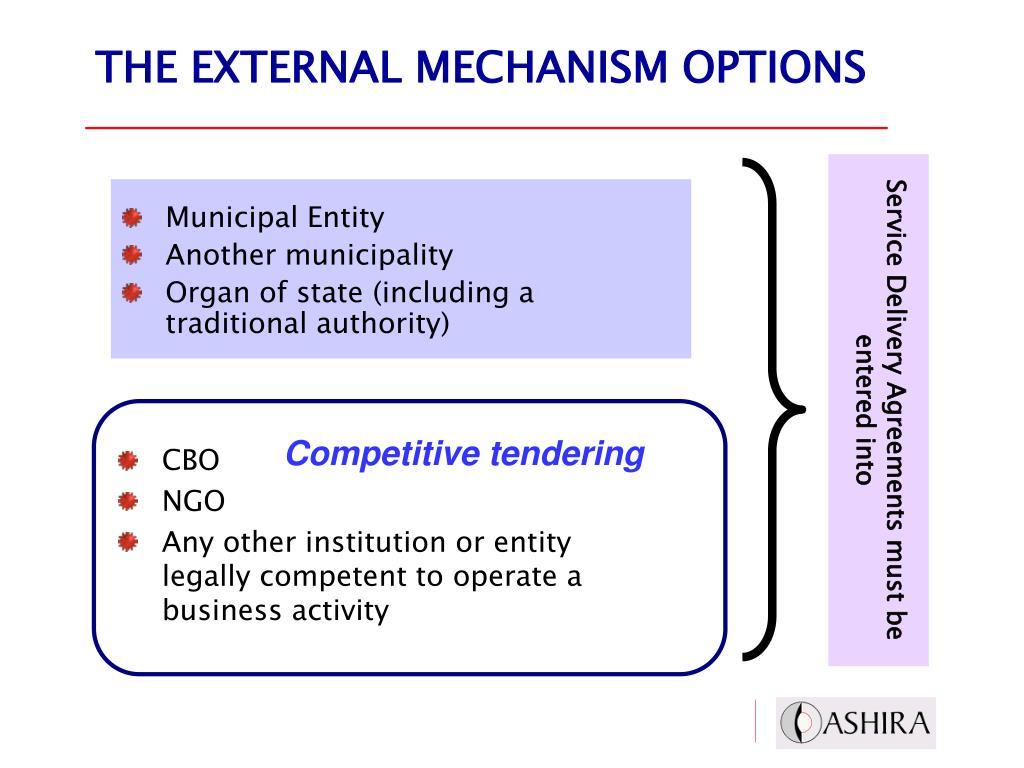 THE EXTERNAL MECHANISM OPTIONS