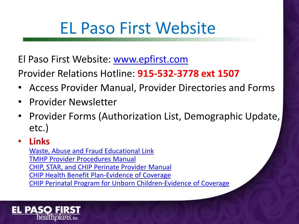 EL Paso First Website