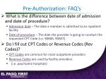 pre authorization faq s