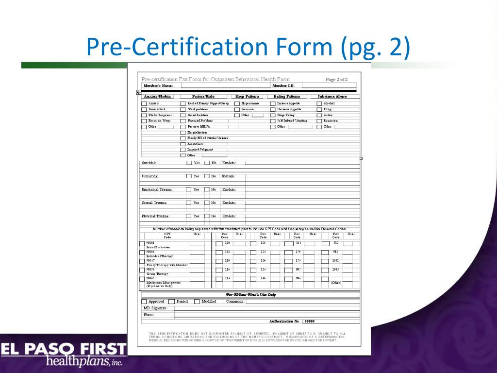 Pre-Certification Form (pg. 2)