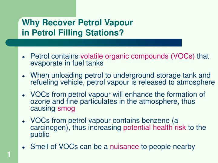 why recover petrol vapour in petrol filling stations n.