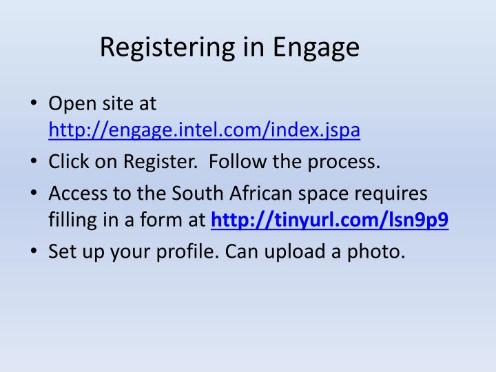 Registering in Engage