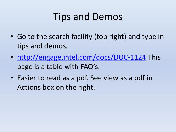 Tips and Demos