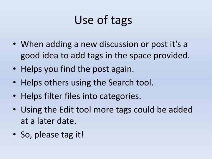 Use of tags