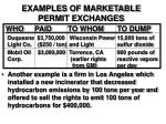 examples of marketable permit exchanges