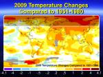 2009 temperature changes compared to 1951 1980